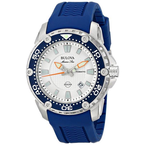 ブローバ 腕時計 マリンスター サテライト 98B208 シルバー×ブルーラバーベルト