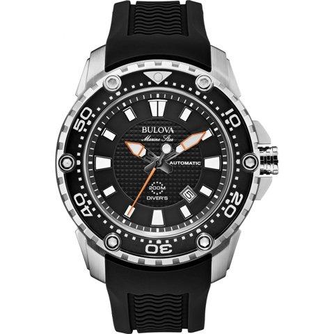 ブローバ 腕時計 マリンスター サテライト 98B209 ブラック×ブラックラバーベルト