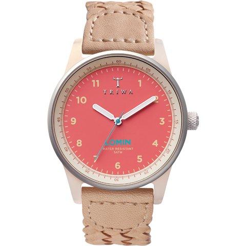 トリワ 腕時計 ロミン LOAC109 コーラル×ベージュレザーベルト