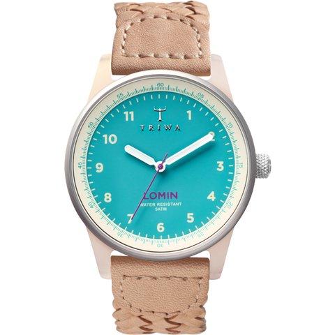 トリワ 腕時計 ロミン LOAC110 アクア×ベージュレザーベルト