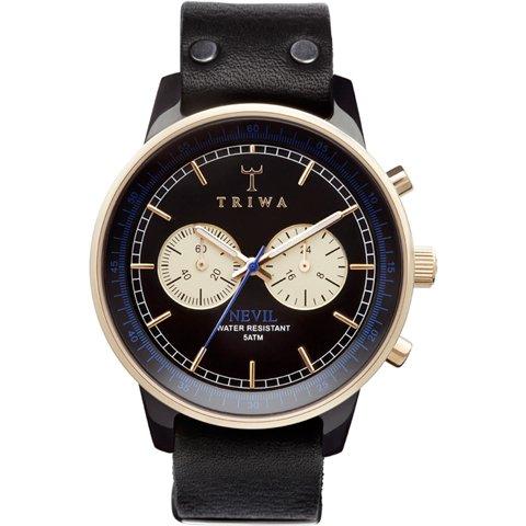 トリワ 腕時計 ネヴィル NEAC112 ブラック×ゴールド×ブラックレザーベルト