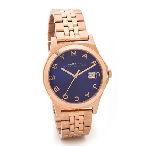 マークバイマークジェイコブス) 腕時計 ザ・スリム MBM3322 ブルー×ローズゴールド