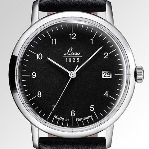 ラコ 腕時計 国内正規品 ヴィンテージ 861834 Laco15系自動巻ムーヴメント ブラック×ブラックレザーベルト