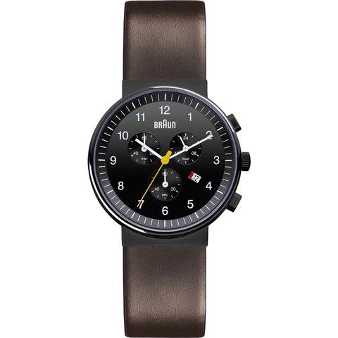 ブラウン Braun 時計/BN0035BKBRG/クロノグラフ/ブラック×ダークブラウンレザーベルト