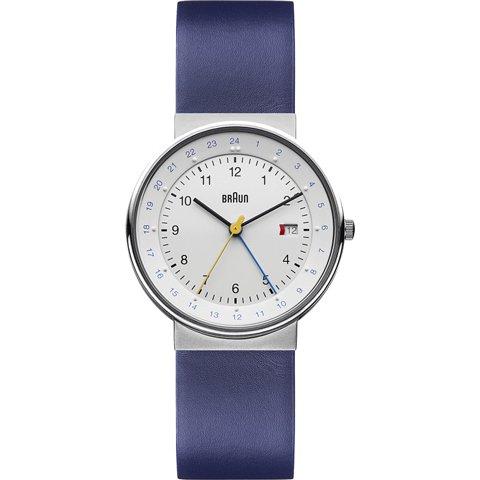 ブラウン Braun 時計/BN0142WHBLG/GMT/シルバー×ブルーレザーベルト