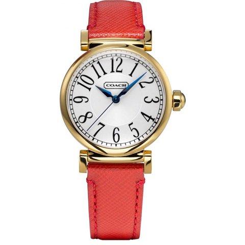 コーチ 腕時計 マディソンファッション 14501729 シルバー×レッドレザーベルト