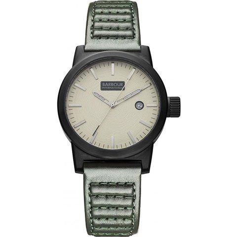 バブアー インターナショナル 腕時計 ホールステッド BB024BKGR アイボリー×グリーンレザー