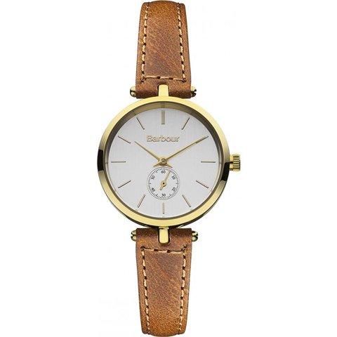バブアー 腕時計 ライル BB011GDTN シルバー×ゴールド×ブラウンレザーベルト