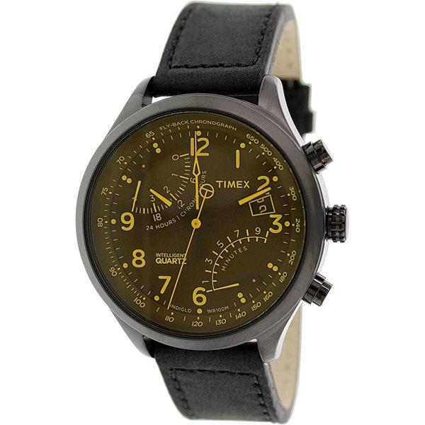 タイメックス 腕時計 インテリジェントクオーツ フライバック T2P511 ブラウン×イエローダイアル× ブラックレザーベルト