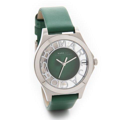 マークバイマークジェイコブス 腕時計 レディース ヘンリースケルトン MBM1336 シルバー×グリーンレザーベルト