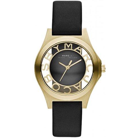 マークバイマークジェイコブス 時計 レディース ヘンリースケルトン MBM1340 ゴールド×ブラックレザーベルト