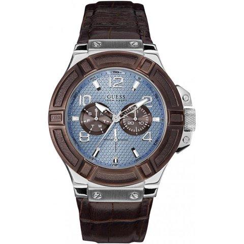 ゲス 腕時計 メンズ リガー W0040G10 ブルー×ブラウン