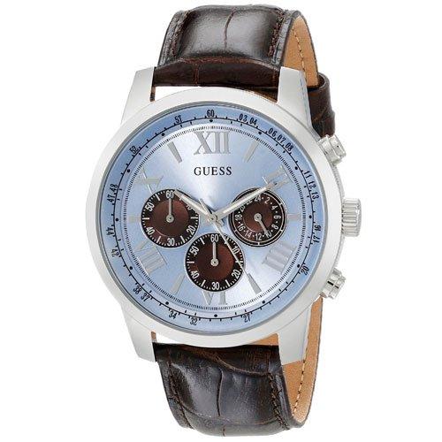 ゲス 腕時計 メンズ ホライゾン W0380G6 アイスブルーダイアル×ブラウンレザーベルト