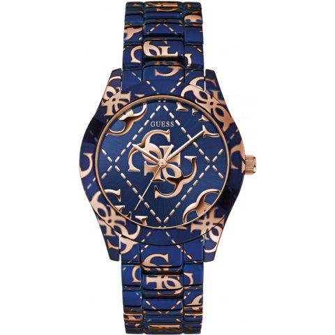 ゲス 腕時計 レディース ロゴクレイジー W0472L1 ブルー×ブルー