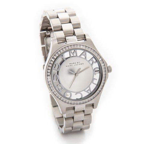 マークバイマークジェイコブス 腕時計 レディース ヘンリースケルトン MBM3337 シルバー×ラインストーン