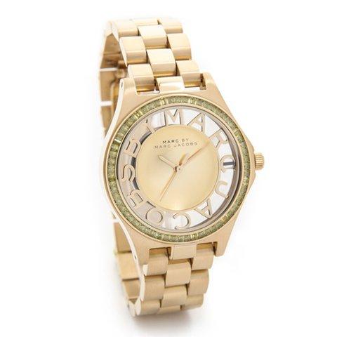 マークバイマークジェイコブス 腕時計 レディース ヘンリースケルトン MBM3338 ゴールド×ラインストーン