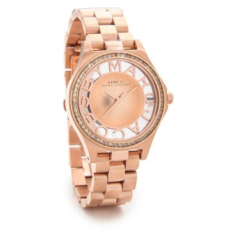 マークバイマークジェイコブス 腕時計 レディース ヘンリースケルトン MBM3339 ローズゴールド×ラインストーン