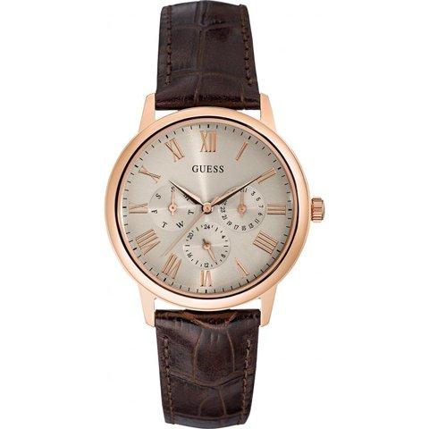 ゲス 腕時計 メンズ ウェハー W0496G1 サンレイカーキ×ブラウン