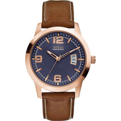 ゲス 腕時計 メンズ ディストリクト W0494G2 ブルー×ブラウン