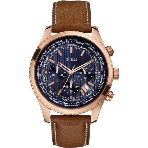 ゲス 腕時計 メンズ パシュート W0500G1 ブルー×ブラウン