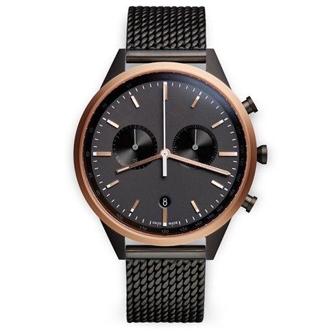 ユニフォームウェアーズ 腕時計  C41 ローズゴールド×ブラックミラネーゼメッシュベルト