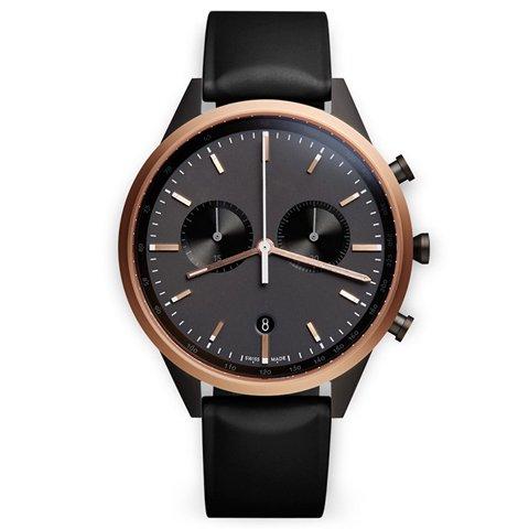 ユニフォームウェアーズ 腕時計 C41 ローズゴールド×ブラックラバー