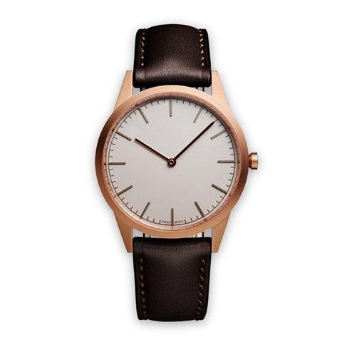 ユニフォームウェアーズ 腕時計 C35 グレー×ローズゴールド×ブラウンレザー