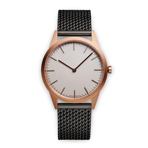 ユニフォームウェアーズ 腕時計 C35 グレー×ローズゴールド×ブラックミラネーゼメッシュベルト