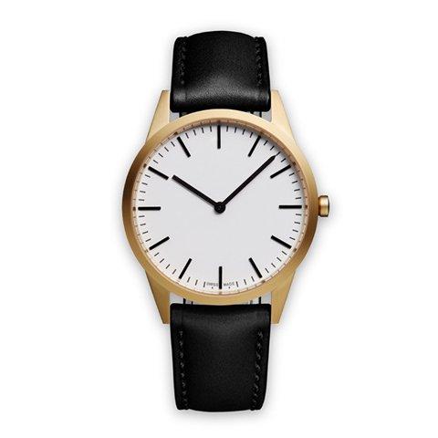 ユニフォームウェアーズ 腕時計 C35 ホワイト×ゴールド×ブラックレザー