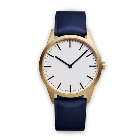 ユニフォームウェアーズ 腕時計 C35 ホワイト×ゴールド×ブルーラバー