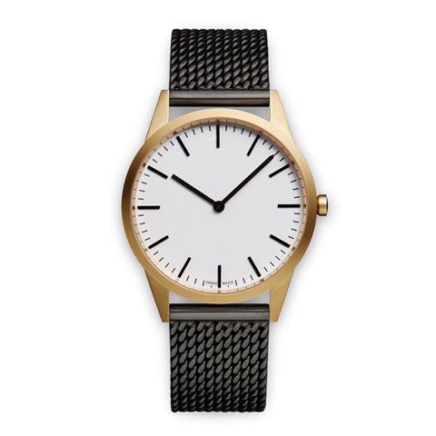 ユニフォームウェアーズ 腕時計 C35 ホワイト×ゴールド×ブラックミラネーゼメッシュベルト