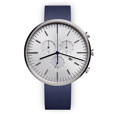 ユニフォームウェアーズ 腕時計 M42 ポリッシュドスチール×ブルーラバー