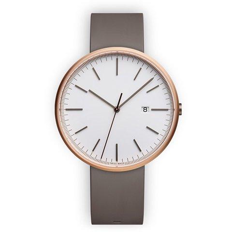 ユニフォームウェアーズ 腕時計 M40 ホワイト×ローズゴールド×グレーラバー