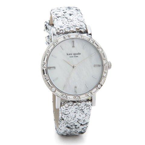 ケイトスペード 腕時計 1YRU0679 シルバー×ラメレザーベルト×ブルーストラップ