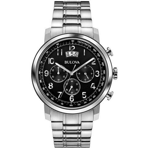 Bulova(ブローバ) 腕時計 メンズドレス 96B202 クロノグラフ ブラック×ステンレススチールベルト
