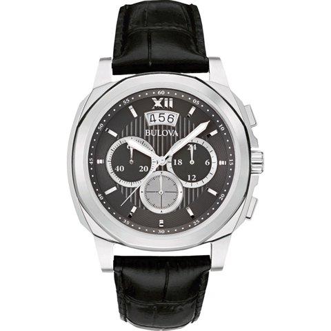 Bulova(ブローバ) 腕時計 メンズドレス 96B218 クロノグラフ ブラック×ブラックレザーベルト