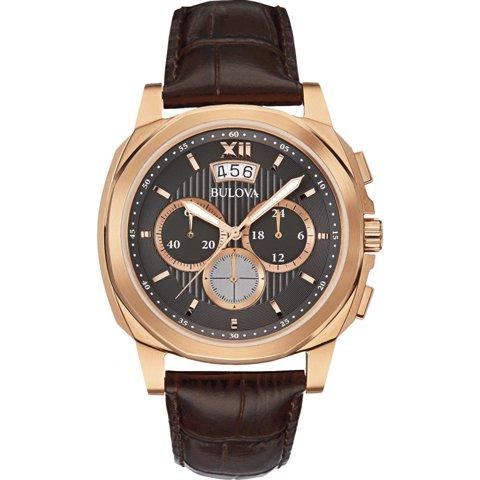 Bulova(ブローバ) 腕時計 メンズドレス 97B136 クロノグラフ グレー×ブラウンレザーベルト