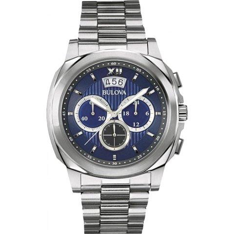 Bulova(ブローバ) 腕時計 メンズドレス 96B219 クロノグラフ ブルー×ステンレススチールベルト