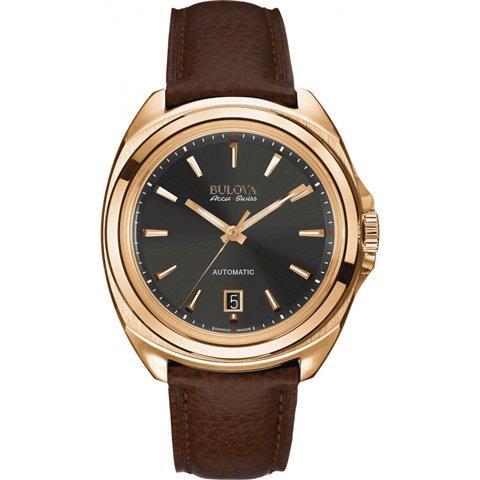 ブローバ 腕時計 アキュスイス テルク 64B126 グレー×ブラウンレザーベルト
