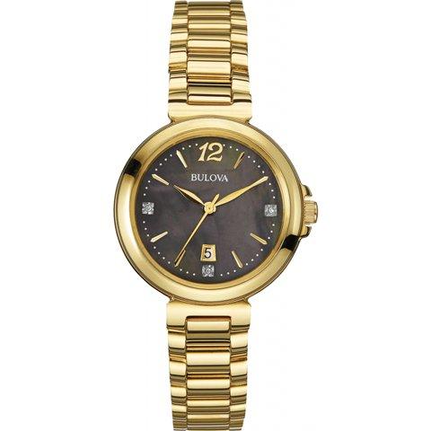 ブローバ 腕時計 レディース ダイヤモンドギャラリー 97P107 ブラック×ゴールド