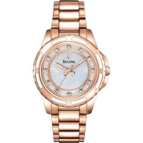 ブローバ 腕時計 レディース ダイヤモンドギャラリー 98P141 マザーオブパール×ローズゴールド