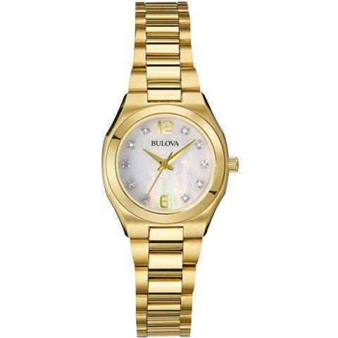 ブローバ 腕時計 レディース ダイヤモンドギャラリー 97P109 マザーオブパール×ゴールド