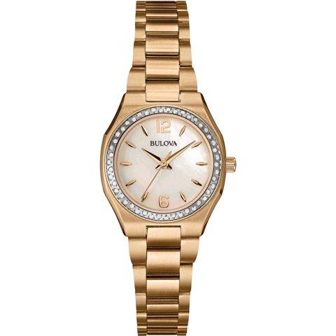 ブローバ 腕時計 レディース ダイヤモンドギャラリー 98R205 マザーオブパール×ローズゴールド