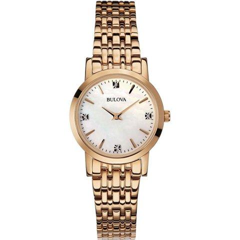 ブローバ 腕時計 レディース ダイヤモンドギャラリー 97P106 マザーオブパール×ローズゴールド