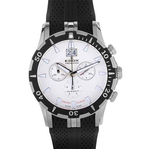 エドックス 腕時計 グランドオーシャン 10022-3-AIN ホワイト×ブラックラバーベルト