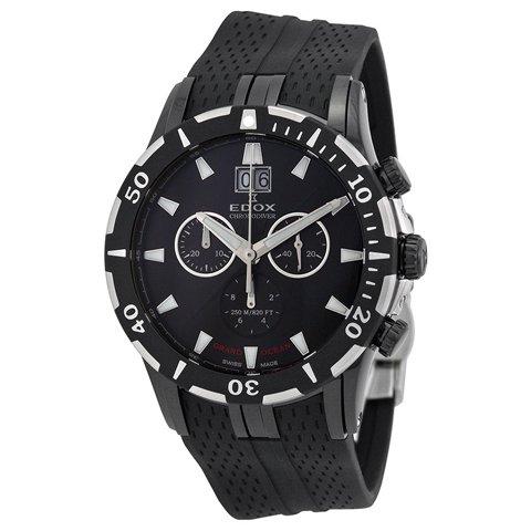エドックス 腕時計 グランドオーシャン 10022-37N-NIN ブラック×ブラックラバーベルト