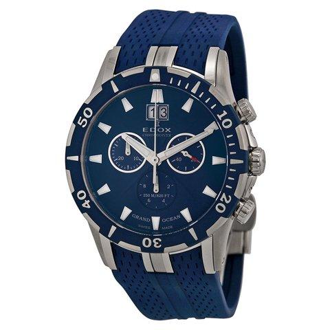 エドックス 腕時計 グランドオーシャン 10022-357B-BUIN ブルー×ブルーラバーベルト