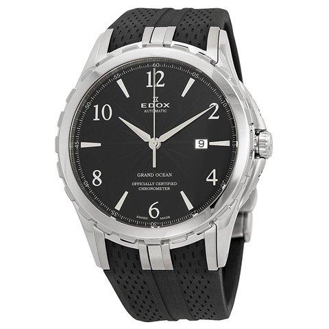エドックス 腕時計 グランドオーシャン 80077 3 NBN ブラック×ブラックラバーベルト