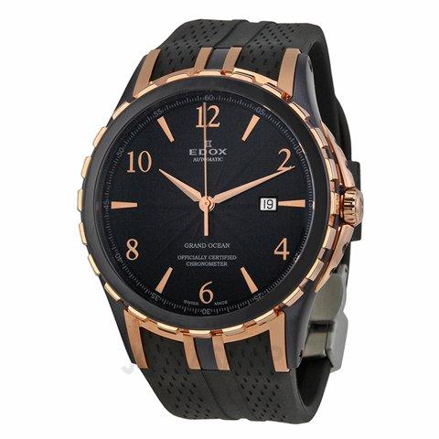 エドックス 腕時計 グランドオーシャン 80077-357-BRR-NBR ブラック×ブラックラバーベルト