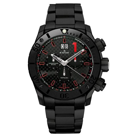 エドックス 腕時計 クラスワン クロノオフショア 10021 37N NRO ブラック×レッド